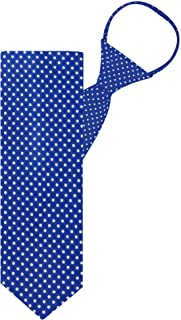 "Jacob Alexander Polka Dot Print Boys 14"" Polka Dotted Zipper Tie - Royal Blue"