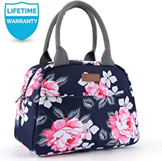 Amersun Lunch Bag for Women,Sturdy Insulated Lunch Box Tote Easy Cleaning Water-resistant Lunch Cooler Snacks Organizer with Pockets for Adults Girl Work Beach Sport Picnic Office College (Peony,Blue)