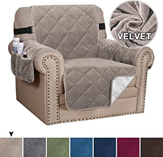 Velvet Chair Cover Armchair Slipcover Furniture Protector Covers Couch Cover for Seat Width up to 23 Inch Chair with 2 Straps Anti-Slid Chair Slip Cover Throw for Pets (Chair - Taupe)