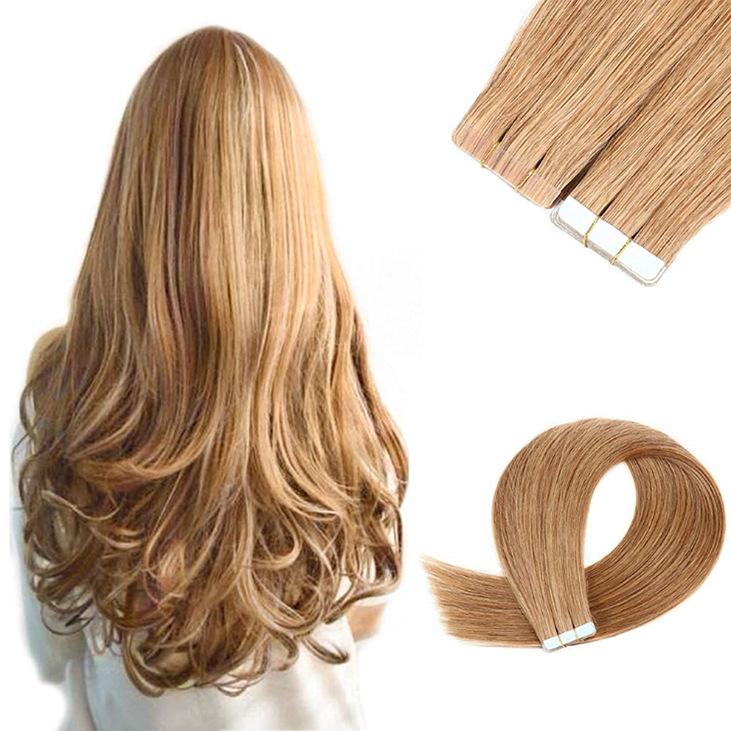 Tape in Hair Extensions #27 Remy Human 100% Award-winning store Many popular brands Blonde Caramel