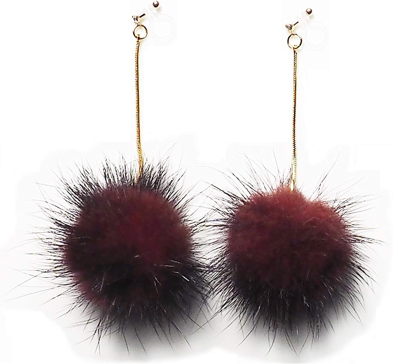 Comfortable Mink Fur Invisible Dangle Clip On Earrings Red Black Brown Grey Pom Pom Clip-on Gold Non Pierced Earrings for Women Miyabi Grace