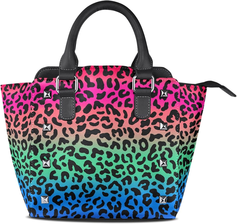 My Little Nest Women's Top Handle Satchel Handbag Multicolor Leopard Pattern Ladies PU Leather Shoulder Bag Crossbody Bag