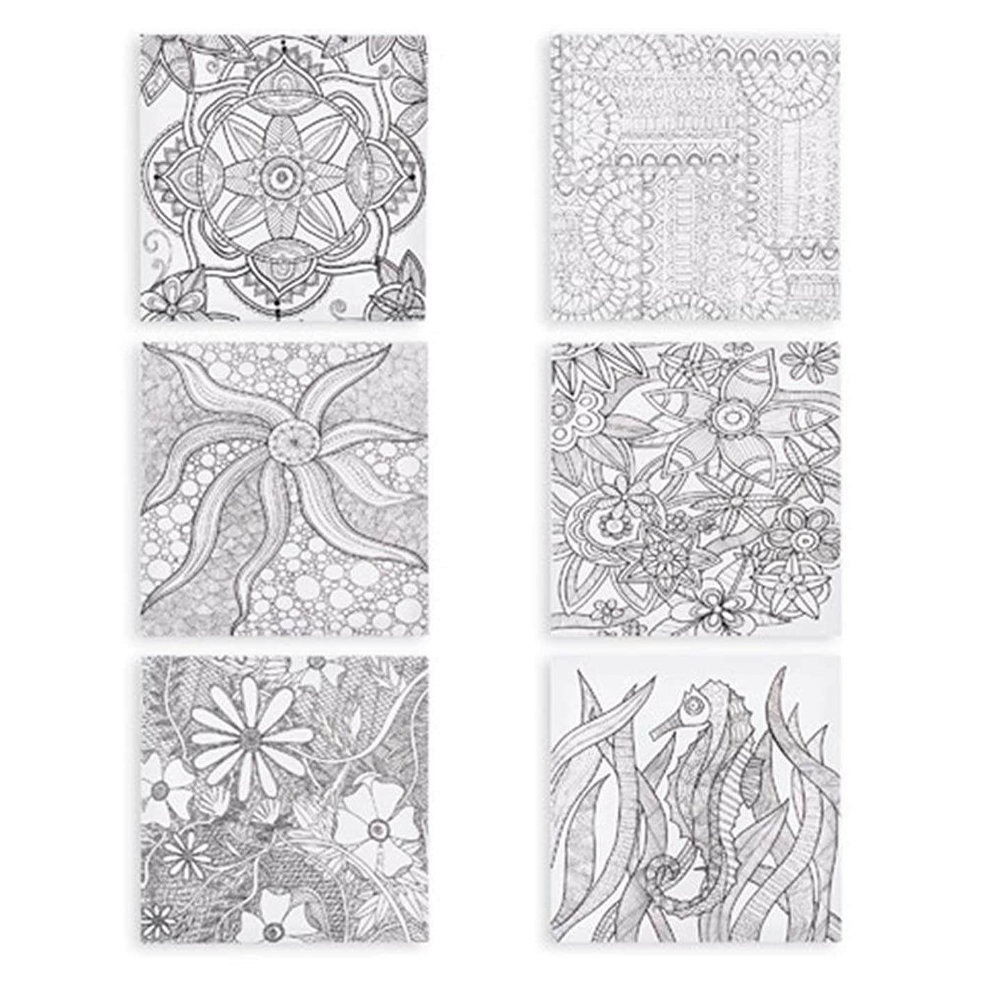 DARICE 30009370 Coloring Adults, 12 x 12 inches Canvas Art, Multicolor, Assorted Print, Single Unit