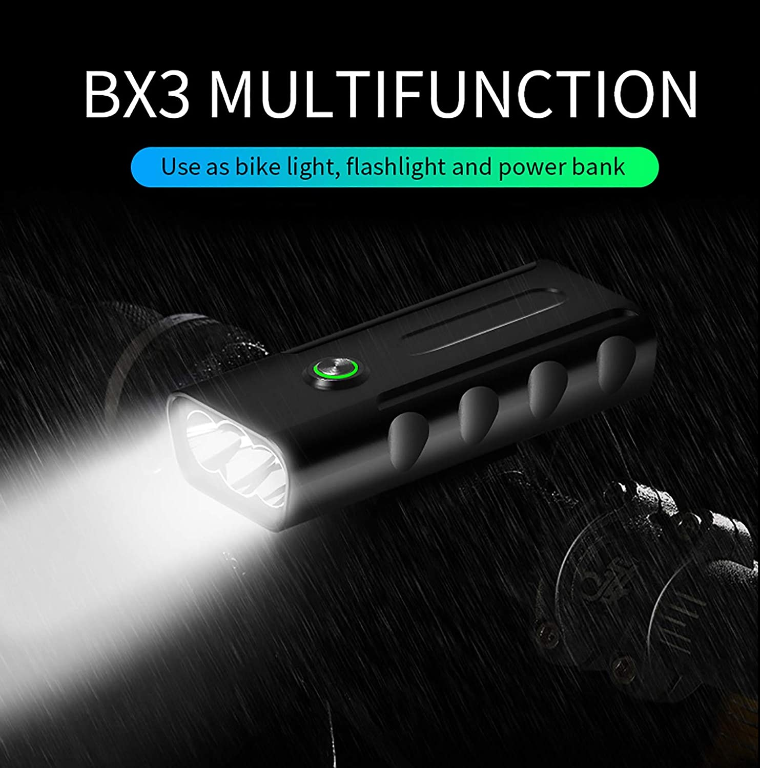 Bicycle Headlight Set, USB Charging LEDIPX5 Waterproof Super Bright 10 Hours redatable Bicycle Front Tail Light high Power Flashlight