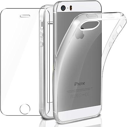 Cover iPhone se/iPhone 5/5S Custodia + Pellicola Protettiva in Vetro Temperato, Leathlux Morbido Trasparente Silicone Custodie Protettivo TPU Gel Sottile Cover per Apple iPhone 5s/iPhone 5/iPhone se