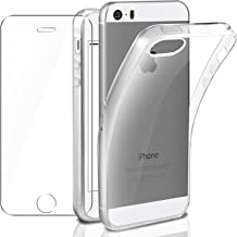 Cover iPhone se/iPhone 5 / 5S Custodia + Pellicola Protettiva in Vetro Temperato, Leathlux Morbido Trasparente Silicone Custodie Protettivo TPU Gel Sottile Cover per Apple iPhone 5s / 5 / se