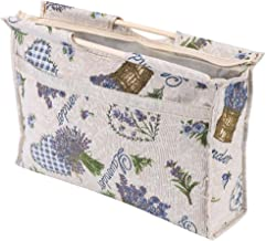 Knitting Tote Bag,Exquisite Practical Wood Handle Woven Fabric Storage Bag for Knitting Needles Sewing Tools Purple Flower