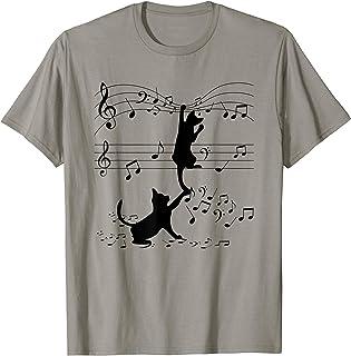 Les chats noirs jouent avec la musique Note Cat Lover T-Shirt