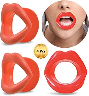 4 Pieces Silicone Face Slimmer Mouth Tightener Rubber Anti-wrinkle Anti-aging Mouth Muscle Tightener Face Exercise Lips Trainer Face-lift (4 pcs, 2 Red and 2 Pink)