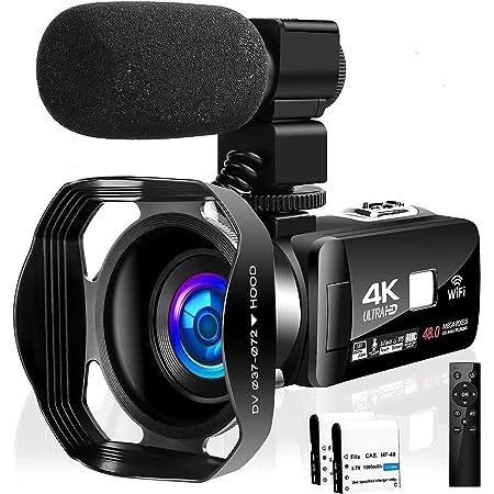 ビデオカメラ4K YouTubeカメラ 48MP&60FPS 18倍デジタルズーム WIFI機能 タッチスクリーン 暗視機能 外付けマイク 最大128GBカード レンズフード付き 予備バッテリあり 360°遠隔操作 六国語取扱説明書 六国語システム