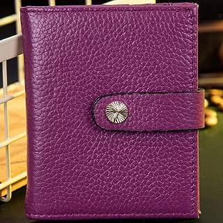 Leather Women's Wallet Cowhide Short Women's Wallet Multicolor Wallet Coin Purse Small Wallet RFID Waterproof (Color : Purple, Size : S)