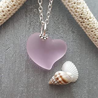 Forever Princess Pink Heart sea glass necklace,