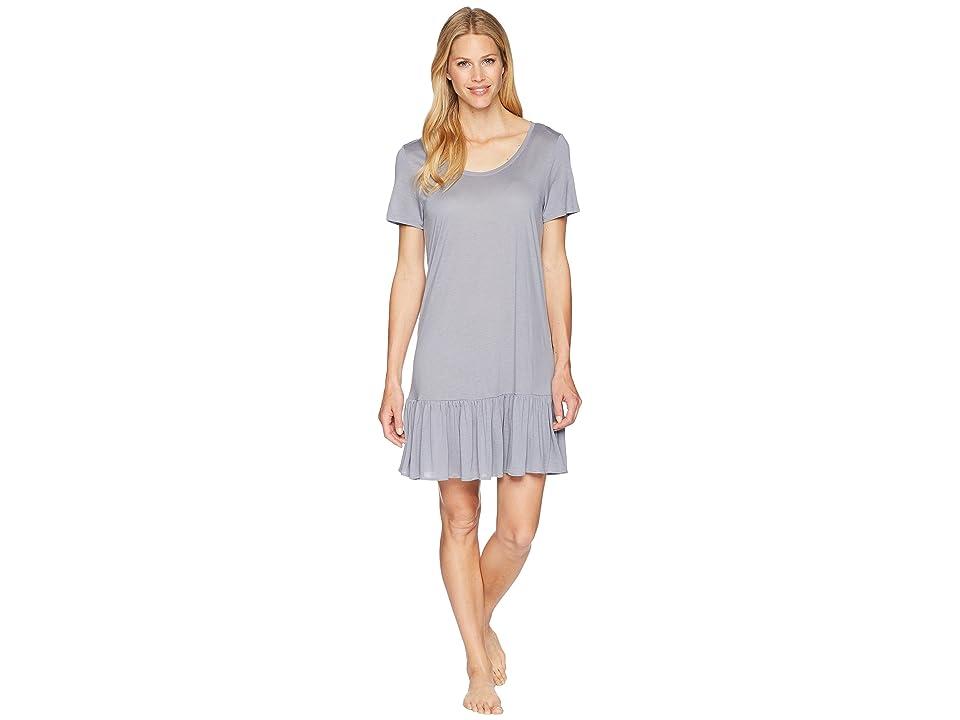 Hanro Malva Short Sleeve Gown (Lilac Grey) Women