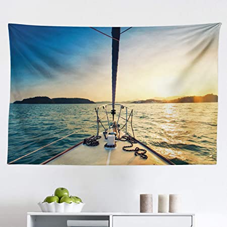 Lunarable Sailboat Nautical Tapestry Nose Of Yacht Sailing In The Sea At Sunset Distant Hills Seaside Sun Fabric Wall Hanging Decor For Bedroom Living Room Dorm 45 X 30 Blue Yellow