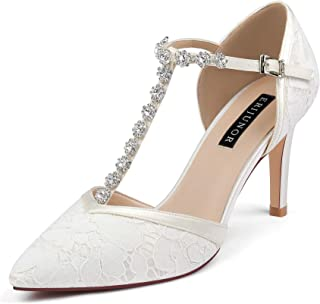 ERIJUNOR Women Lace Bridal Shoes Mid Heel with Rhinestones T-Strap Pointy Toe Satin Wedding Shoes