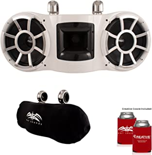 Wet Sounds REV 410 Swivel Clamp Tower Speaker with Wet Sounds Suitz Speaker Covers - White