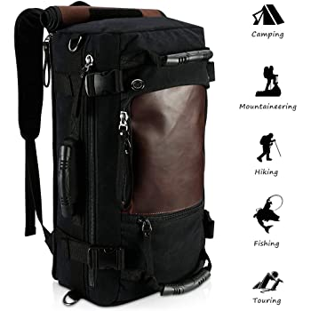 Ibagbar Canvas Backpack Travel Bag Hiking Bag Rucksack Duffel Bag Laptop Backpack Computer Bag Camping Bag Sports Bag Weekend Bag Briefcase Bag Messenger Bag Shoulder Bag Black