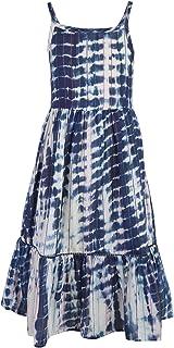 A Little Fable Girls tie & dye Sleeveless Cotton Maxi Dress - Blue