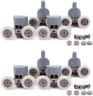 Shower Door Wheels, Lance Home 8Pcs Double Twin Top / Bottom Shower Door Rollers / Runners / Pulleys / Wheels Bathroom Replacement Parts 25mm Diameter