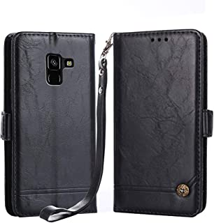 Galaxy A8 Plus Case,Suordii PU Leather Wallet Case with Card Slot Magnetic Closure [Wrist Strap] Flip Cover for Samsung A8 Plus 2018 (Black)
