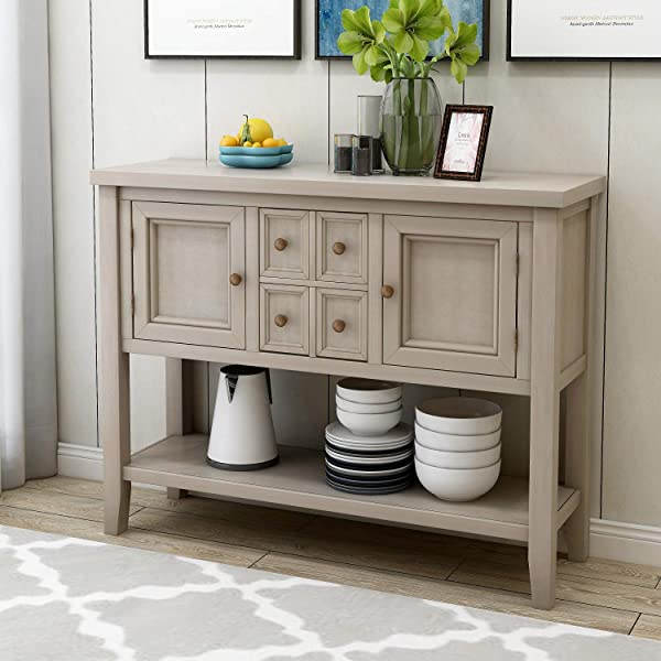 HM HOME Console Table Buffet Table Sofa Table Sideboard With 4 Storage Drawers 2 Cabinets And Bottom Shelf For Entryway Hallway And Living Room Antique Gray