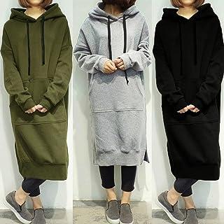 Extaum New Women Loose Long Sweatshirt Hooded Dress Solid Long Sleeve Pockets Split Casual Warm Hoodies