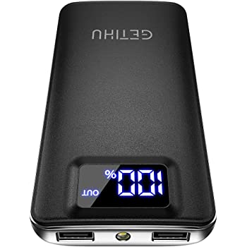 GETIHU Portable Charger, LED Display 10000mAh Power Bank, 4.8A 2 USB Ports High-Speed Battery Pack with Flashlight for iPhone 11 Pro X 8 7 6S Plus Samsung Galaxy S20 S10 Note 10 Google LG Oneplus iPad