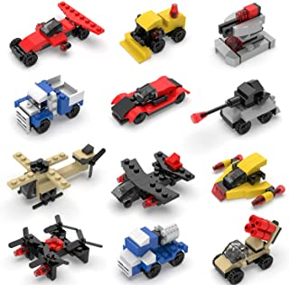 FUN LITTLE TOYS Military Vehicles and Race Car Building Brick Sets, 3D Assembly Cars for Party Favors, Kids Prizes, 12 Boxes