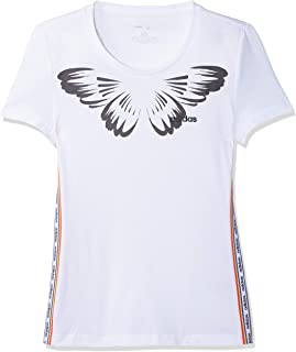 adidas Women's W FARM PRINT T-Shirt, White/Black, Large, 16-18