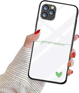 Suhctup Personalizzata Cover per iPhone 12 Mini Custodia in Vetro Temperato con Cuore Testo Personalizzabili Regalo Case U...