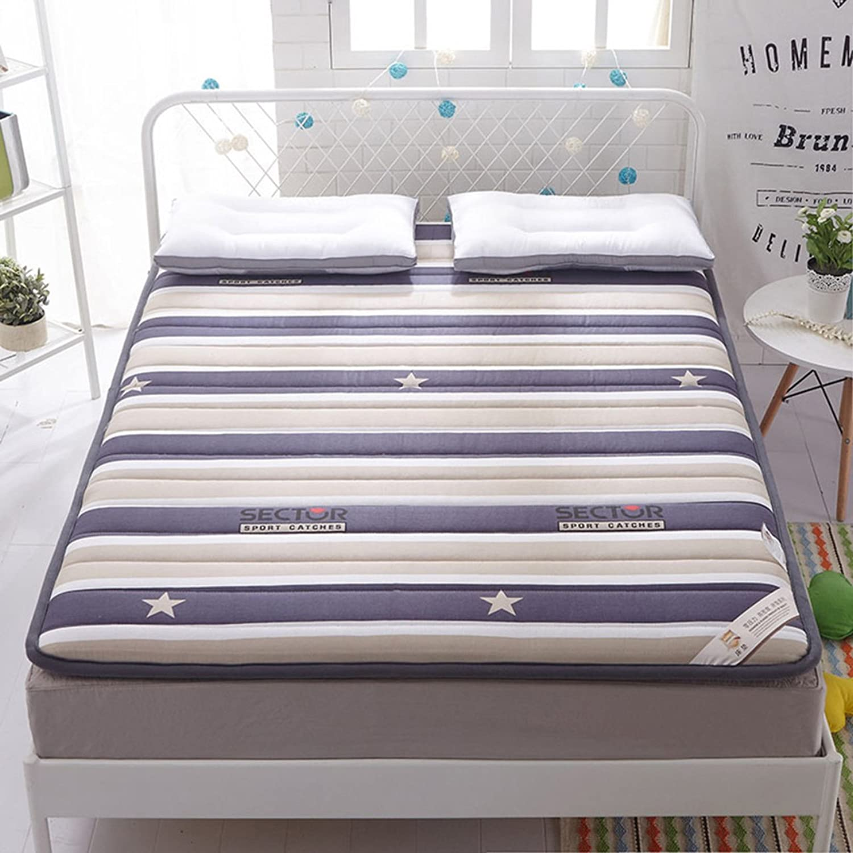 Cotton Quilted Mattress,Tatami Floor mat Washable Non-Slip futon Mattress Topper Dorm Double Portable Sleeping pad-A 90x200cm(35x79inch)