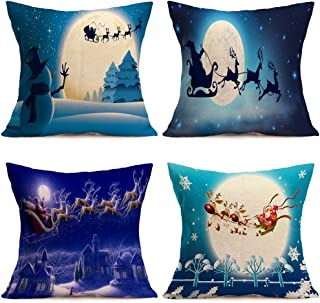 4Pcs Soft Square Pillowcases Merry Christmas Theme Santa Claus Reindeer Christmas Eve Home Decorative Canvas Cotton Throw Pillow Covers 18
