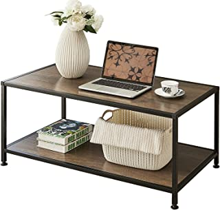 GreenForest Coffee Table Industrial Metal Frame for Living Room Easy to Install,Rustic Walnut