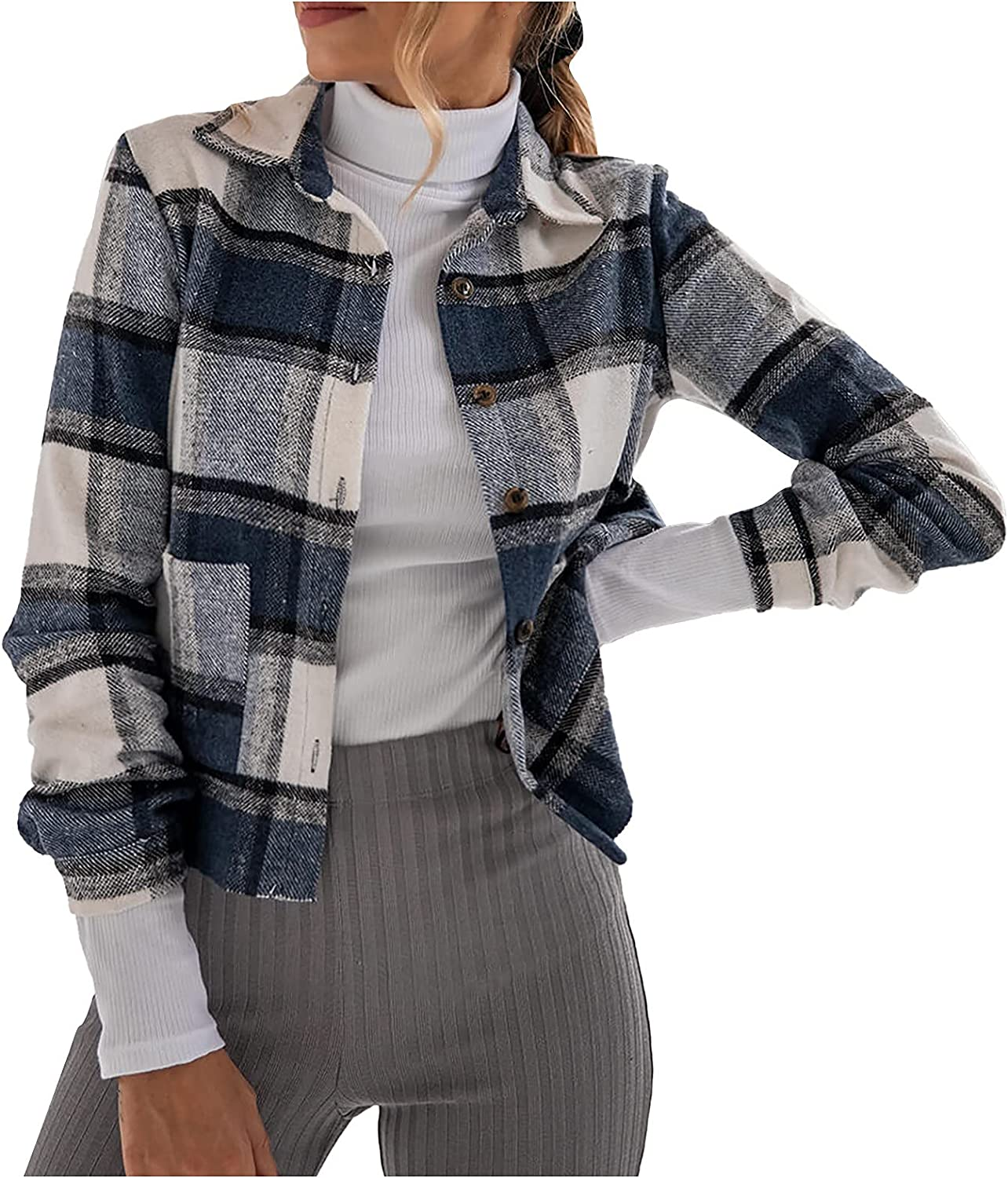VonVonCo Fashion Cardigan Sweaters for Women Casual Lattice Printed Buttons Long Sleeve Tunic Blouse Shirt