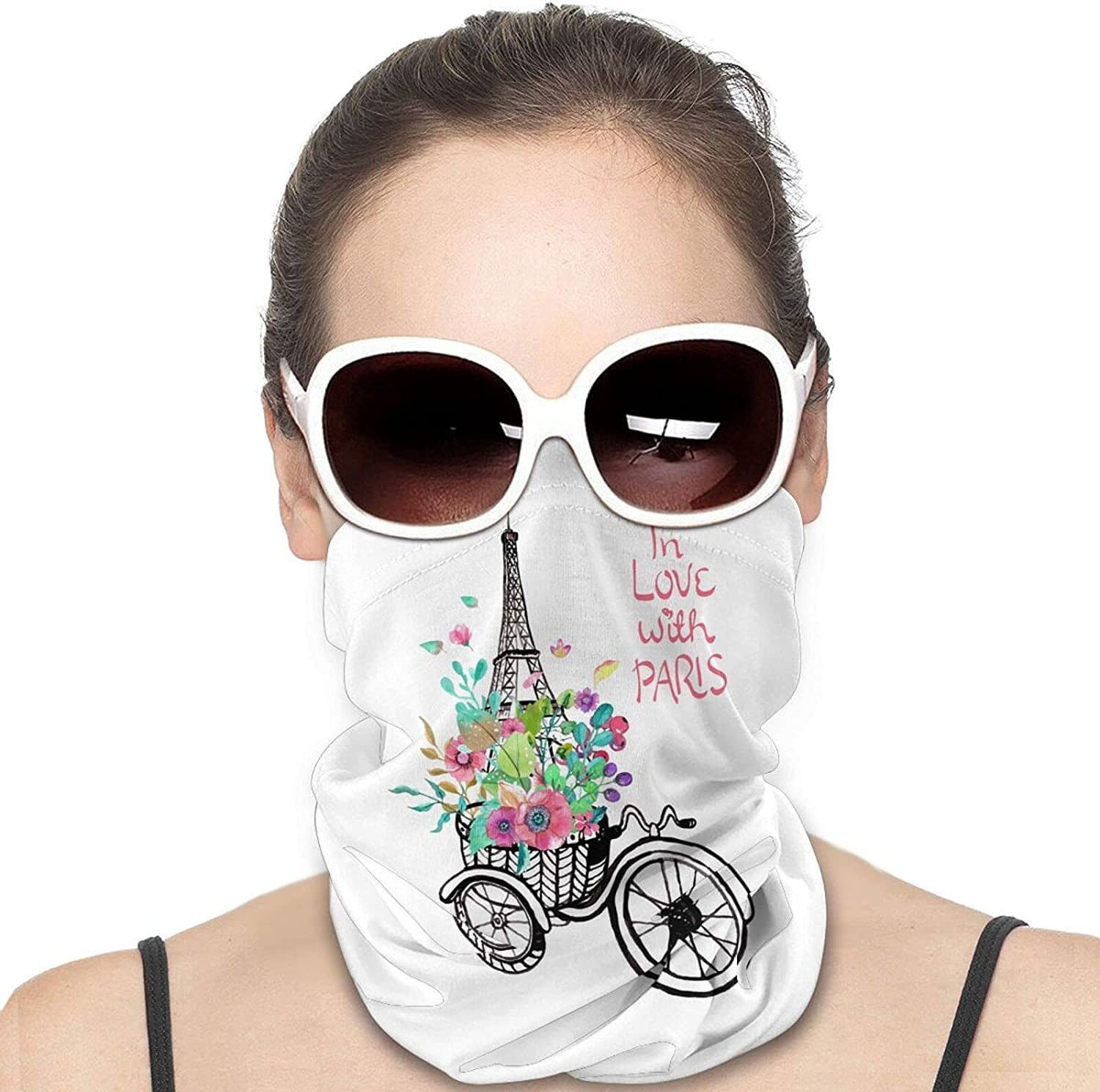 Love in Paris Eiffel Tower Flowers Bicycle Round Neck Gaiter Bandnas Face Cover Uv Protection Prevent bask in Ice Scarf Headbands Perfect for Motorcycle Cycling Running Festival Raves Outdoors