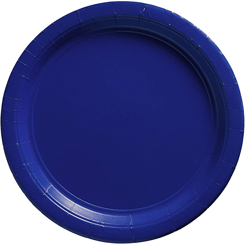 Amscan Bright Royal Blue Paper Plate Big Party Pack 50 Ct