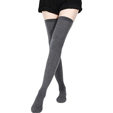 hohe Oberschenkel-Overknee-Socken extra lang Winter-Rippstrick-gestreifte