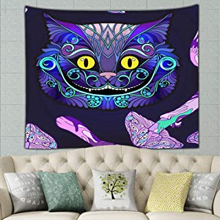 Cheshire Cat Head Fairy Tale Animals Wildlife Alice Tapestry Wall Hanging, Hippie Sunset Forest Tapestry, Wall Art Decoration For Bedroom Living Room Dorm, Window Curtain Picnic Mat 60 X 40 Inches