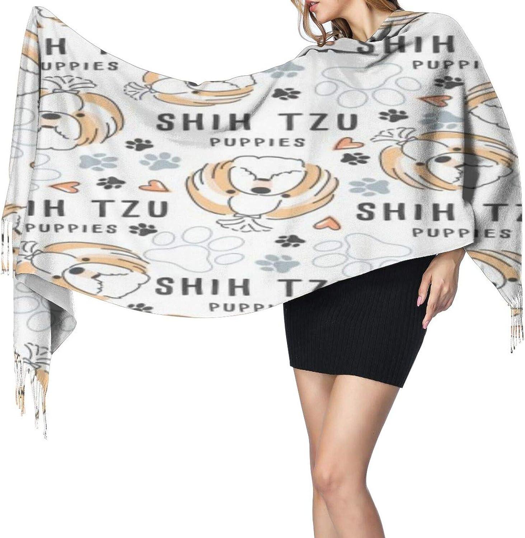 Cashmere fringed scarf Cute Shih Tzu Dog winter extra large scarf