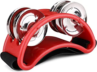 Flexzion Foot Tambourine Percussion with Double Row Steel Jingles - Foot Shaker Musical Instrument Drum for Kids KTV Party Shoes Toy Gift Singer Vocalists Cajon & Guitar Players (Red)