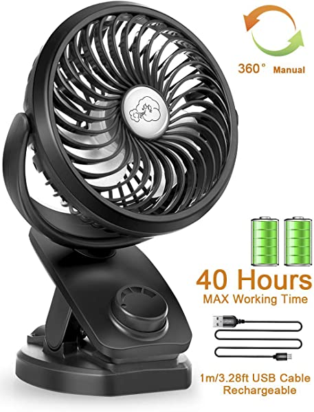 Stroller Fans Mini USB Desk Clip Fan YXwin 2019 Newest Table Fan 40 Hours Max Working Time 360 Rotation 4400mah Battery 4 Speed Quiet Fan For Outdoor Indoor Baby Car Travel Office Camping Library