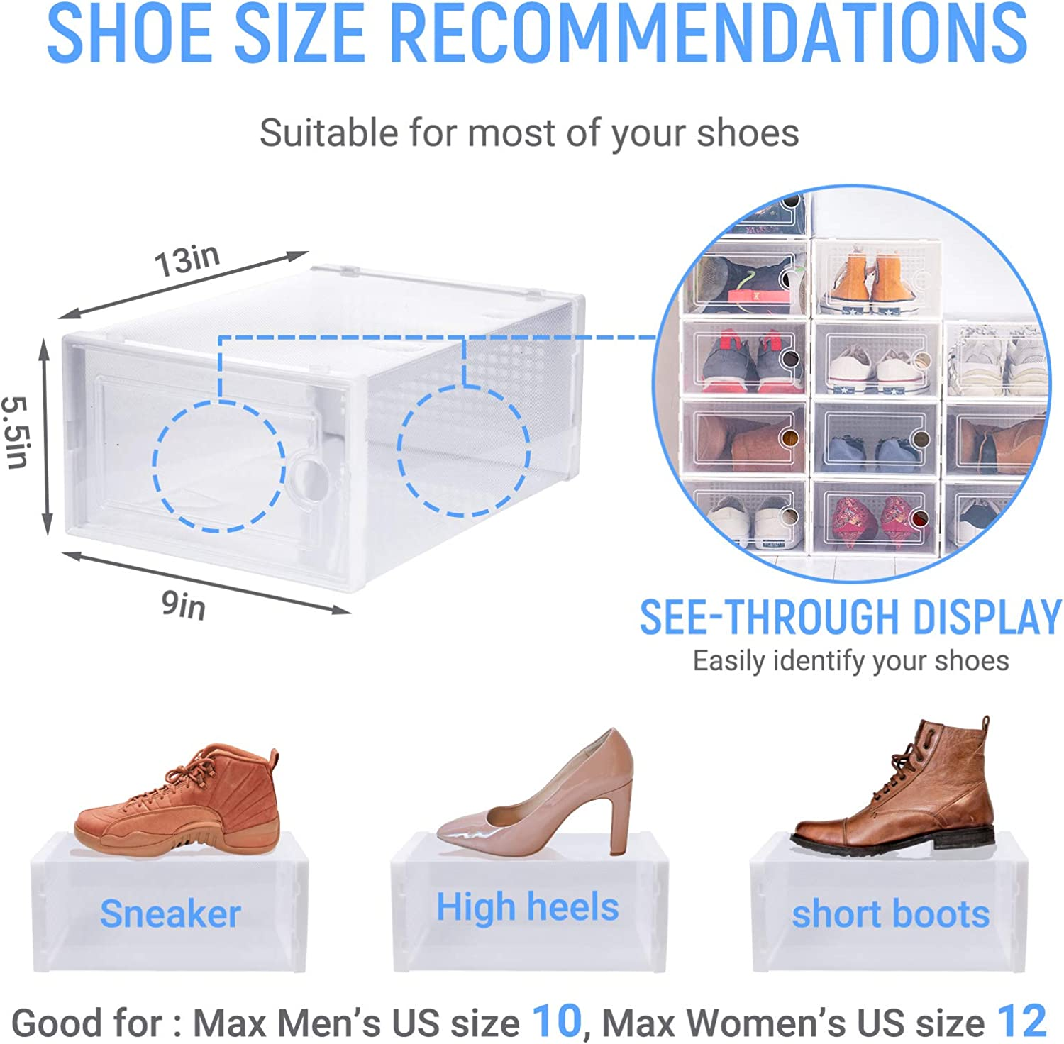 WALL QMER 12 Pack Shoe Boxes Clear Plastic Stackable Storage Boxes 13 x 9 x 5.5in Front Opening Shoe Holder Containers Shoe Box for Closet Shoe Organizer with Lids