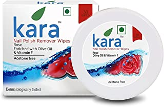 Kara Wipes Nail Polish Remover With Vitamin Removes Nail Polish, Rose (30 Pulls) x (Pack Of 2)