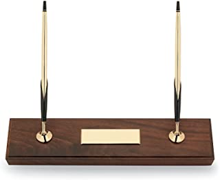 Cross Hand-Rubbed Walnut Base Double Desk Set with 10KT Gold-Filled (Rolled Gold) Ballpoint Pen & 0.7mm Pencil