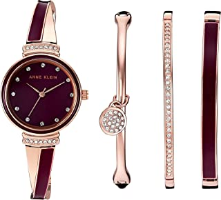 Anne Klein Women's AK/2716RBST Swarovski Crystal Accented Rose Gold-Tone and Burgundy Watch and Bangle Set