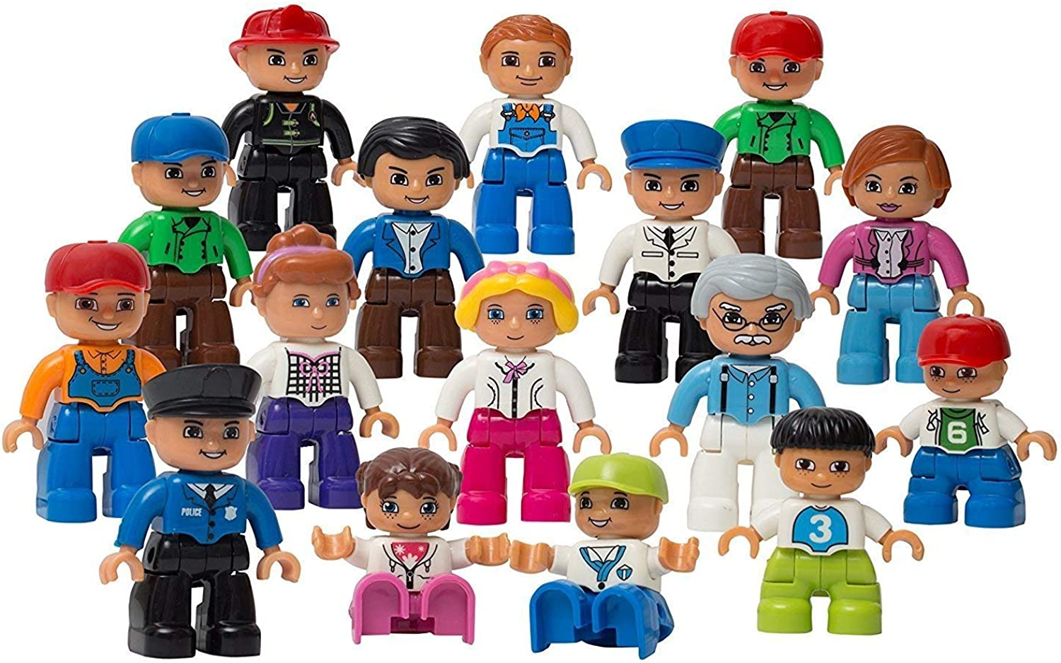 Play Build Community Figures Set – 16 Pieces – Bulk Starter Kit Includes Police Man, Farmer, Fire Fighter, Conductor, Mom, Dad, Grandpa, Kids & More – Compatible With Lego Duplo Building Blocks