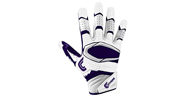 Cutters Gloves Rev Pro 2.0 Receiver Football Gloves White//Purple X-Large Cutters Performance Gloves And Grips S451-0309-35-E