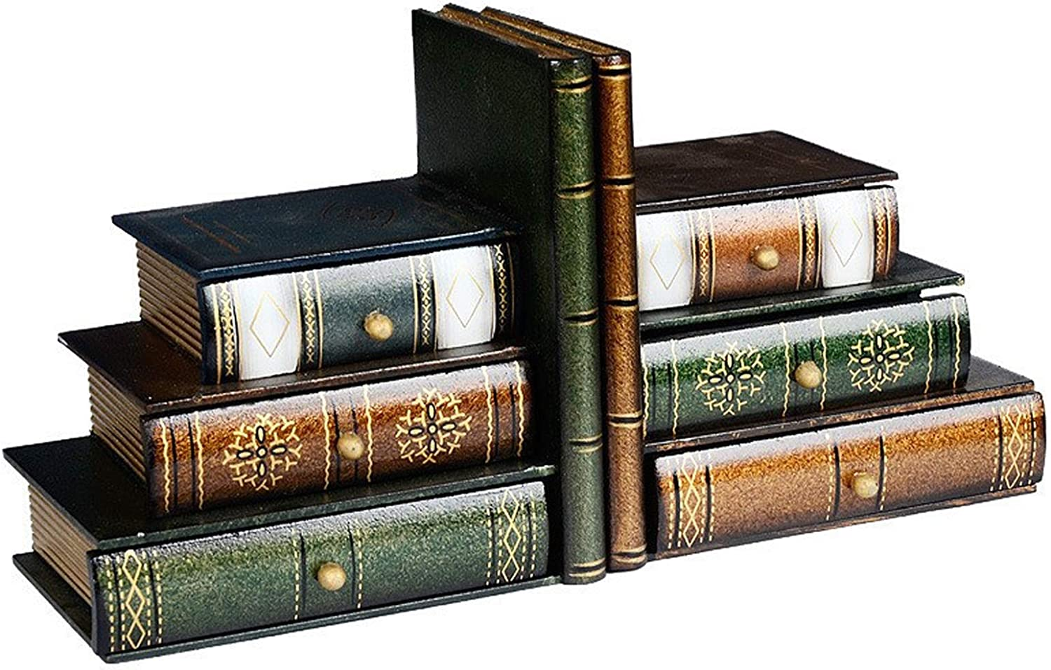 DSWHM Decorative Limited price sale Book Ends Stacked Desktop O Wood Bookends Books High material