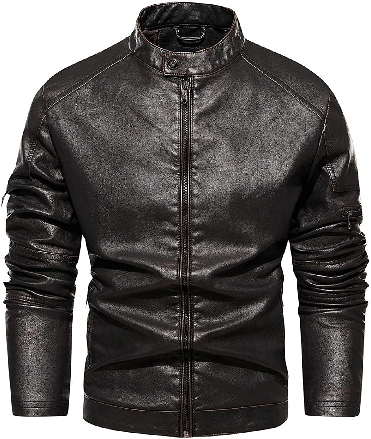 Mens Leather Motorcycle Jackets Stand Collar Full Zipper Windbreaker Outwear Tops Warm Thicken Sweatershirts Overcoat