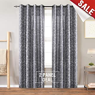 Faux Silk Swirl Embroidered Grommet Top Curtains for Bedroom Embroidery Curtain for Living Room 84 inches Long, 2 Panels, Gray